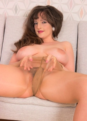 Beautiful Mummy Kate Anne exposes her big puffies & hot ass in sheer pantyhose