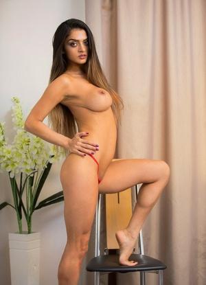 Exotic brunette playgirl loves fingering her cleanly clean-shaved vagina