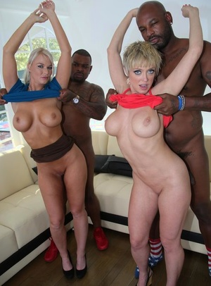 Mature women exchange cum after fucking black men in front of their sons