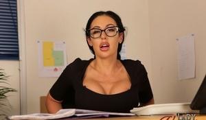 Leggy secretary Mila Amora wears glasses while flashing upskirt panties