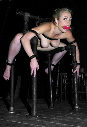 Tattooed girl Adrianna Nicole is restrained and gagged before being abused