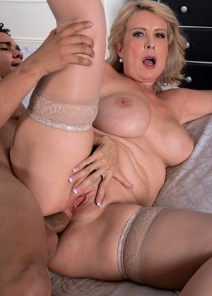Mature blonde woman Laura Layne gets fucked in the ass by a Latino gigolo