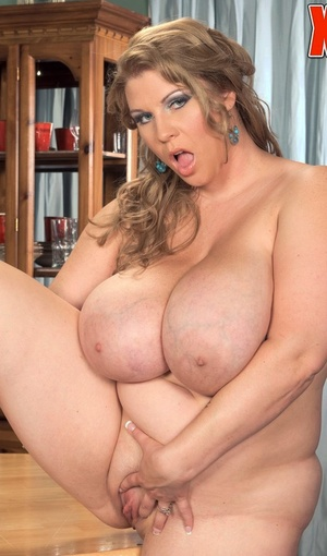 BBW Renee Ross licks ice juice and whip juice off the nipples of her knockers