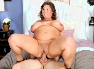 Large female Nikki Smith concludes a fuck with sperm on her tongue and boobs