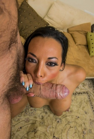 Only really huge dick can make jizz such a hot woman as brunette Rio Lee is