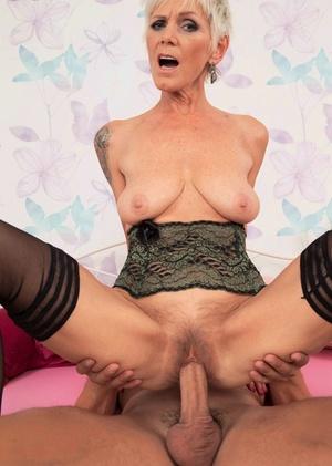 Old woman Nicol Mandorla seduces her sleeping stepson in black underwear