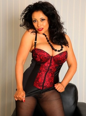 Super hot older chick Danica Collins frees massive tits and thicket in hose and corset