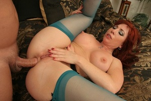 Mature pornstar with red hair Brittany Oconnel gets poked in sheer nylons