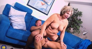 German oma receives an open mouth jizz flow after sex with toy boy