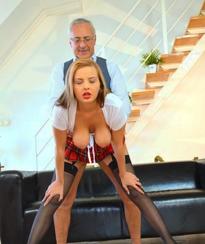Promiscuous schoolgirl in tights got penetrated by an old man Jim Slip