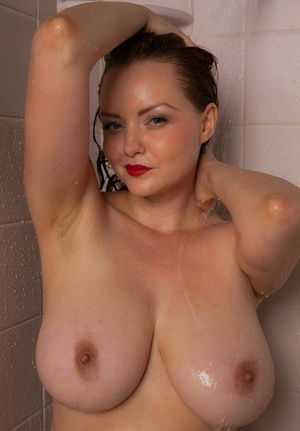 Big-chested mature fatty Natasha Dedov wearing a wet white t-shirt in the shower