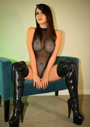 Big-chested fledgling Bryci fucks herself with dildo wearing stripper shoes