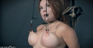 Big-titted plump mature victim Summer Hart has nipples corded tight & clamped