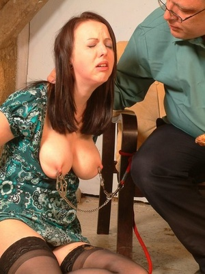 Busty slave is forced to eat her dinner after urinating on first