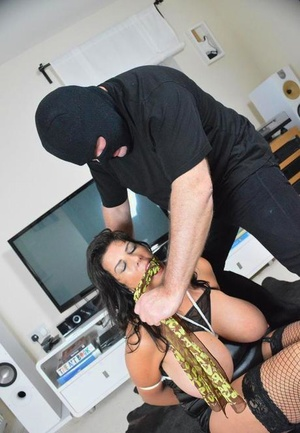 Big titted chick Lu Lu Lush gets gagged and tied up by home intruder