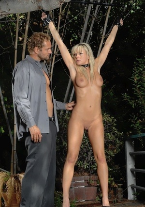 Towheaded hook-up slave Bree Olsen wears a collar while pleasuring her Master