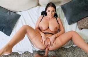 Warm chesty Angela White deep throats big dick & gets deep anal fucking & cum on tits