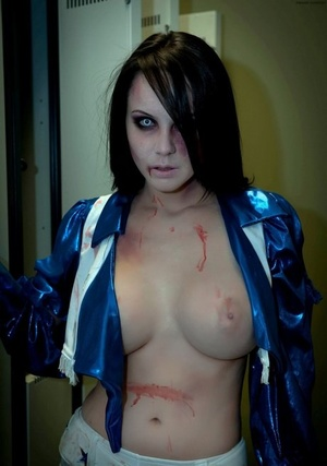 Giant breasted vampire Bryci looks absolutely phenomenal in sexy white boots