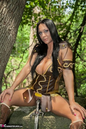 Cosplay slut Isis flaunts her great big tits in a variety of sexy costumes