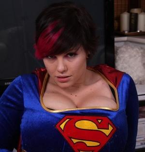 Cosplay girl Dors Feline reveals the super tits behind the super hero costume