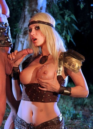 Blonde chick Jazy Berlin gets plowed outside at night in cosplay clothing