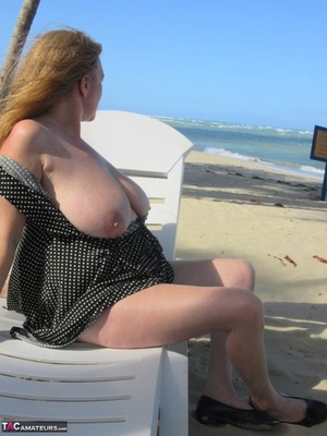 Mature older Lily May flaunts big saggy boobies in casual, evening and beach wear