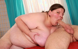 Ugly mature SSBBW Dillon Day fucks doggystyle & gets cum on massive saggy boobies