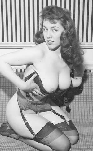 Beautiful vintage models posing in tights and garters to show hairy snatch