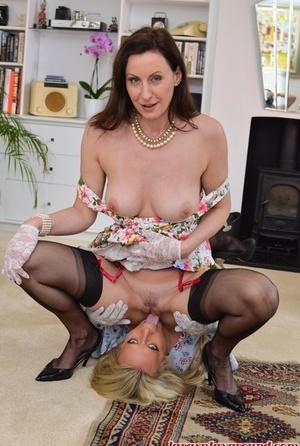 Mature MILF Sasha Steele & warm pal slurping & petting pussy in lace gloves