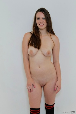 Solo girl bares her hefty naturals as she strips to over the knee socks