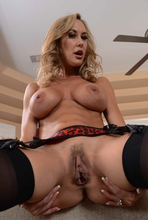 Luxury Brandi Enjoy in black lingerie and leather corset flashes tits and g-spot